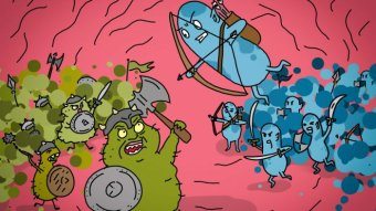 A cartoon of bugs fighting a battle with bows and arrows, axes and swords.