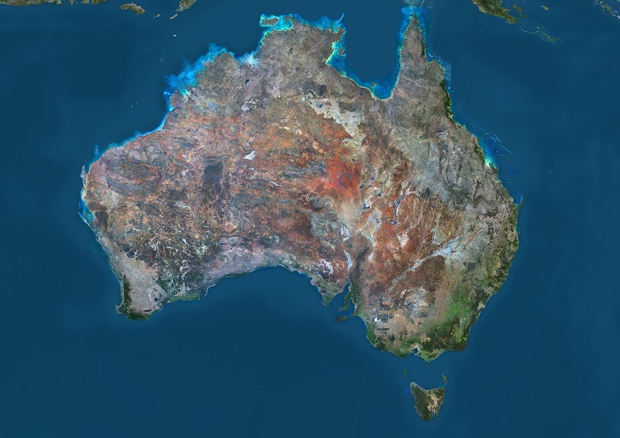 A natural colour image of Australia, taken by the Landsat 8 satellite in 2014