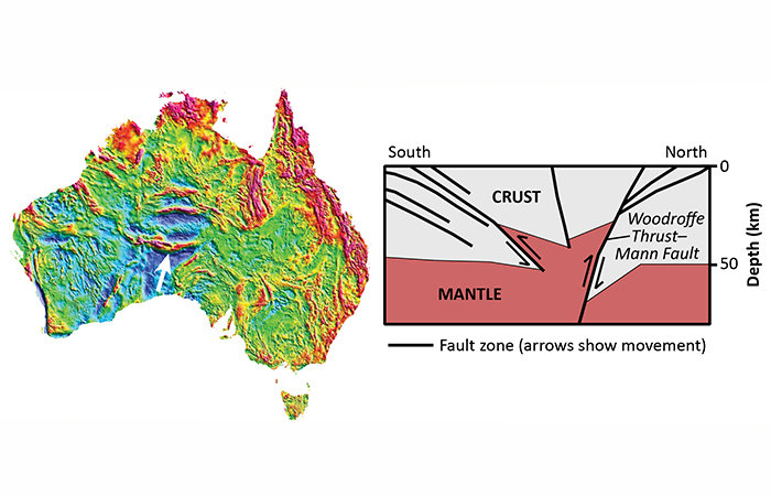 A map showing gravity anomalies across Australia