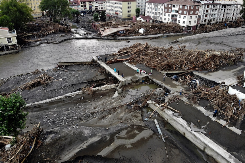 An aerial photo shows the destruction after floods and mudslides