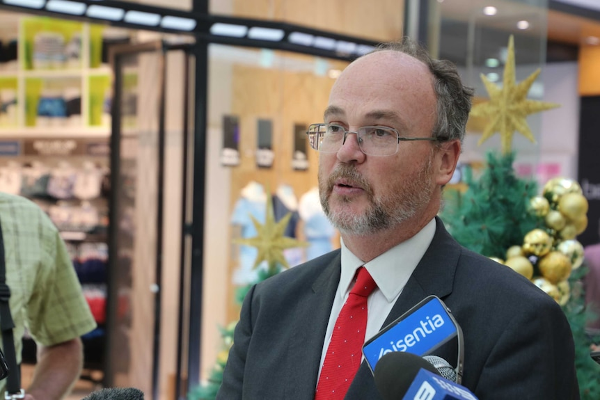 Commerce Minister Bill Johnston addressing media in front of a Christmas Tree