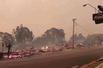 Part of the main street of Cobargo has been flattened by the bushfire.