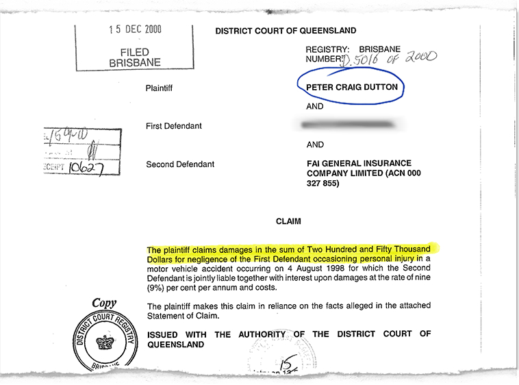 Collage of legal documents pertaining to Peter Dutton's car accident while on duty as a police officer