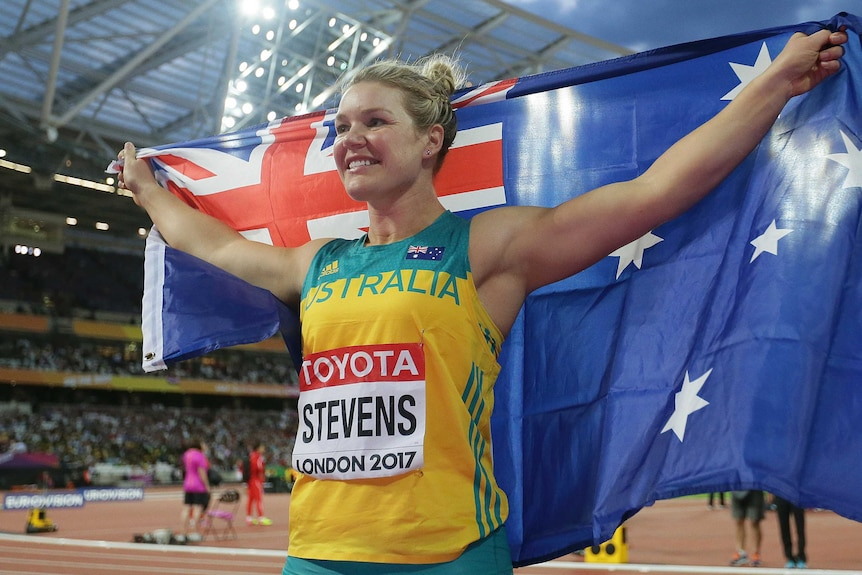Australia's Dani Stevens celebrates her silver medal in the discus at the world athletics titles