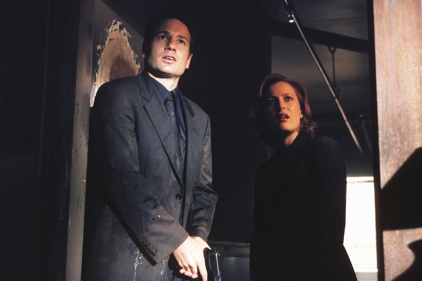 """Fox Mulder and Dana Scully stand in a doorway holding their guns to the floor, a still from """"The Goldberg Variation"""" episode."""