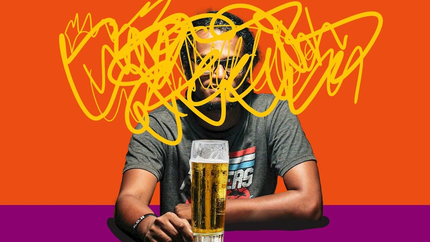 Man sits at table with a beer, with brushstrokes over his head to depict dealing with managing emotions after giving up booze