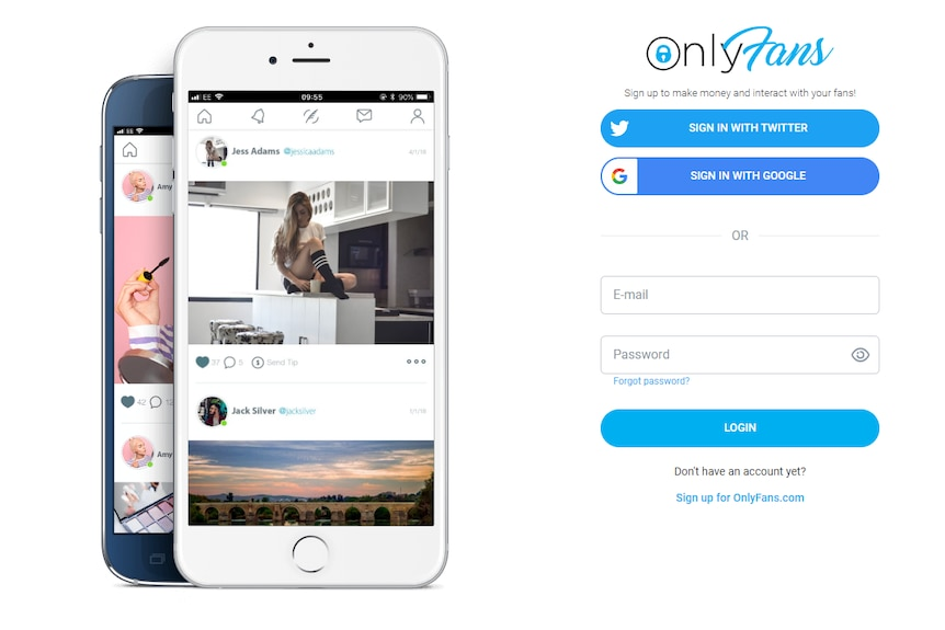 The OnlyFans homepage.