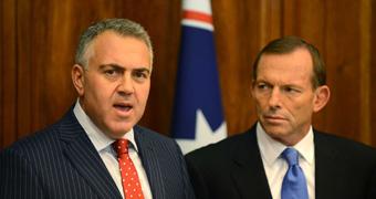 Joe Hockey and Tony Abbott during a press conference