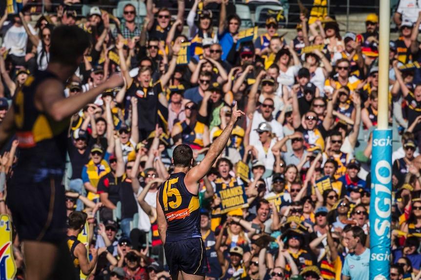 Jamie Cripps celebrates a goal for West Coast against Adelaide