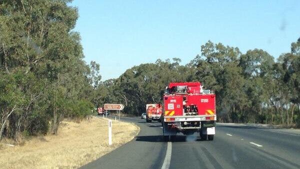 Fire trucks en route to a bushfire in the Grampians.