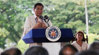 Filipino President Rodrigo Duterte making a speech.