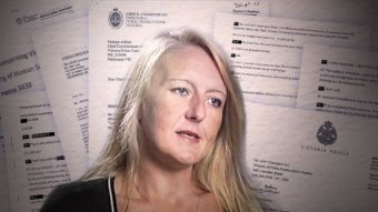 A graphic of Nicola Gobbo's face in front of police documents.