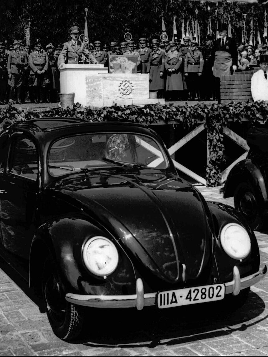 German Nazi leader Adolf Hitler speaks at the opening ceremony of the Volkswagen car factory in Fallersleben, Lower Saxony, Germany