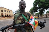 Solider stands outside presidential palace in Bangui