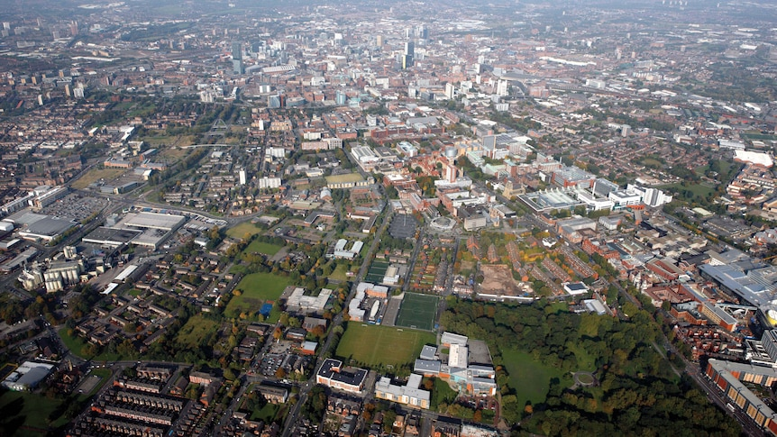 The city of Manchester, United Kingdom from the sky.