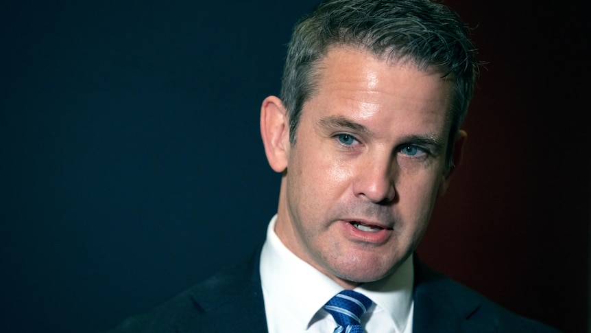 Illinois Republican Adam Kinzinger speaks to the media at the Capitol in Washington.