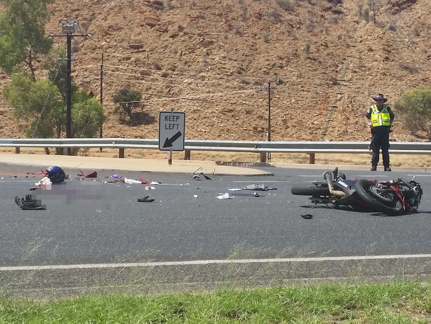 The scene of the crash on Stott Terrace, in which a rider was knocked off his motorcycle.