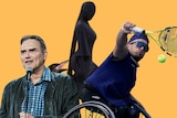 A composite image of Dylan Alcott, Norm Macdonald, a woman in all black and a beaked critter peaking out from behind.