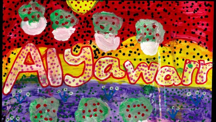a colourful dot painting with the word Alyawarn painted in the centre