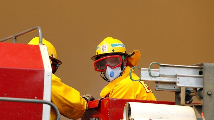 Stretched: all available trucks are already committed to fighting fires that have been raging all day.