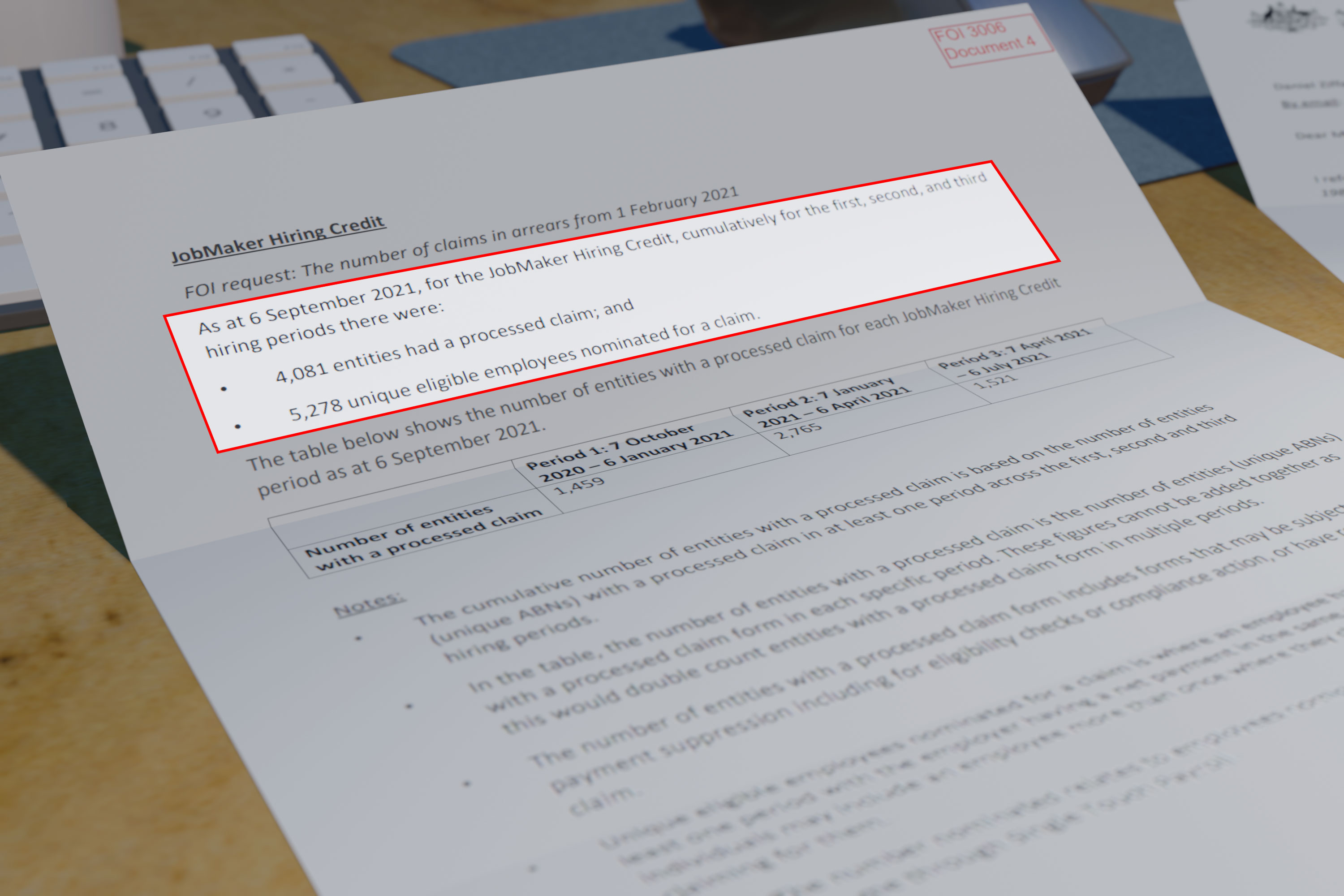 Treasury documents provided to the ABC under an FOI request.