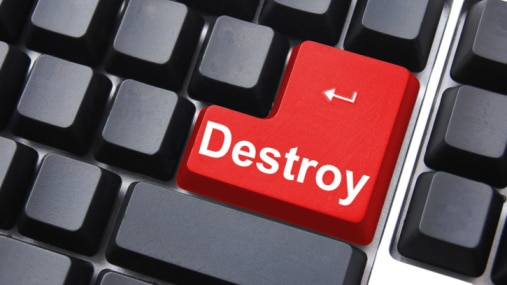Black keyboard with red 'Destroy' button (Thinkstock)