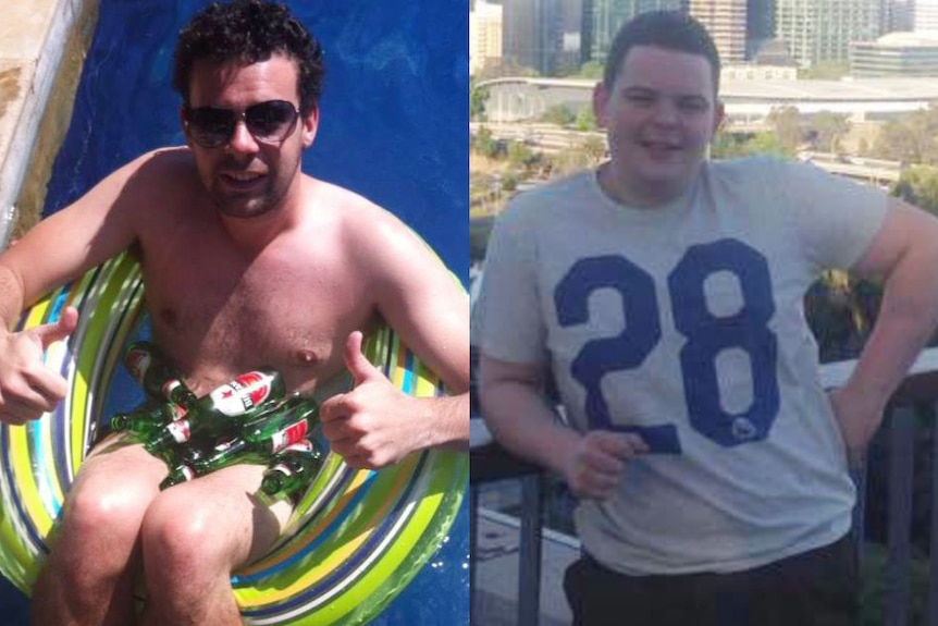 A picture of Gerry Bradley sitting in a pool tube alongside a picture of Joe McDermott standing on a balcony.