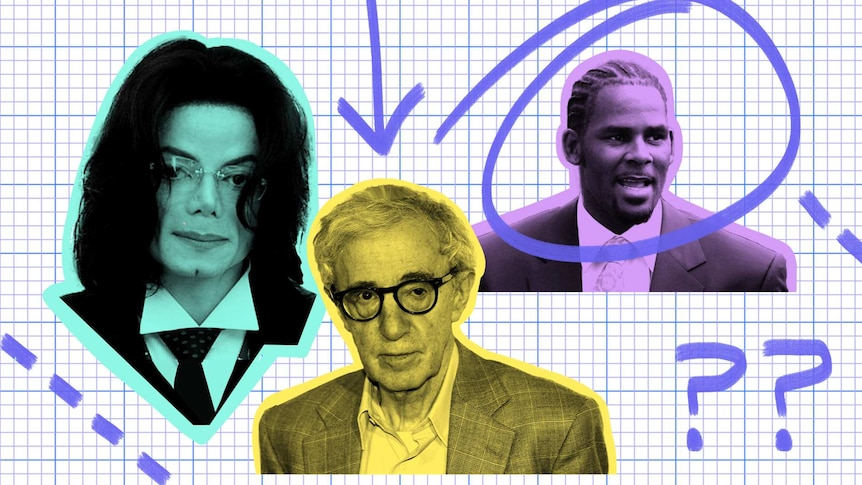 Photos of Michael Jackson, Woody Allen and R Kelly for story about the ethical challenges of enjoying their work.