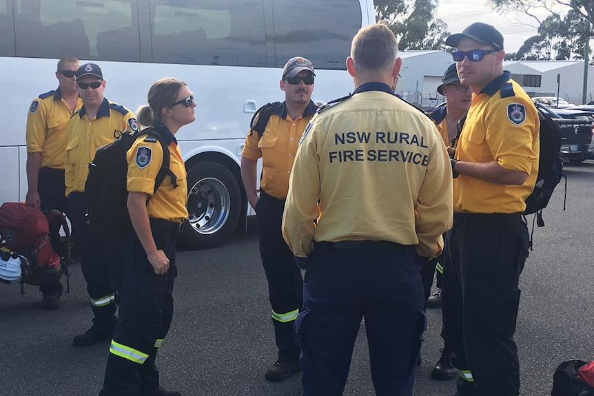 NSW Rural Fire Service personnel arrive in Tasmania.