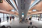 Inside a Sydney metro station