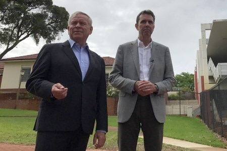 Colin Barnett and Peter Collier at a Perth school.