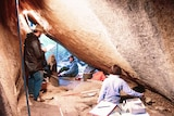 The inside of the Birrigai rock shelter during excavation in 1986.