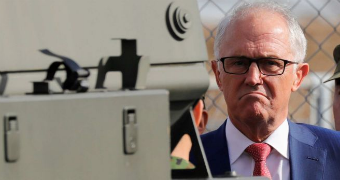 Malcolm Turnbull in the line of a bushmaster.