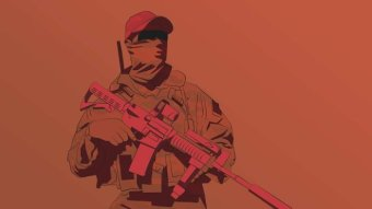 A graphic of a soldier with a gun.