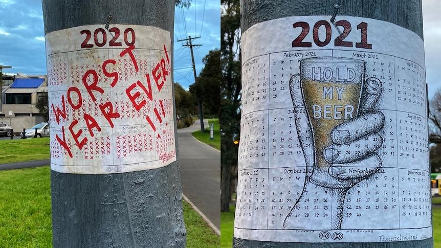 COVID poster in Melbourne tree.