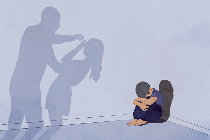 An illustration of a child cowering in a corner as the assault of his mother by his father is cast in shadow on a wall.