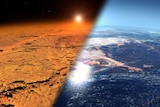 Half of the image shows a red desert and the other half, a blue ocean world