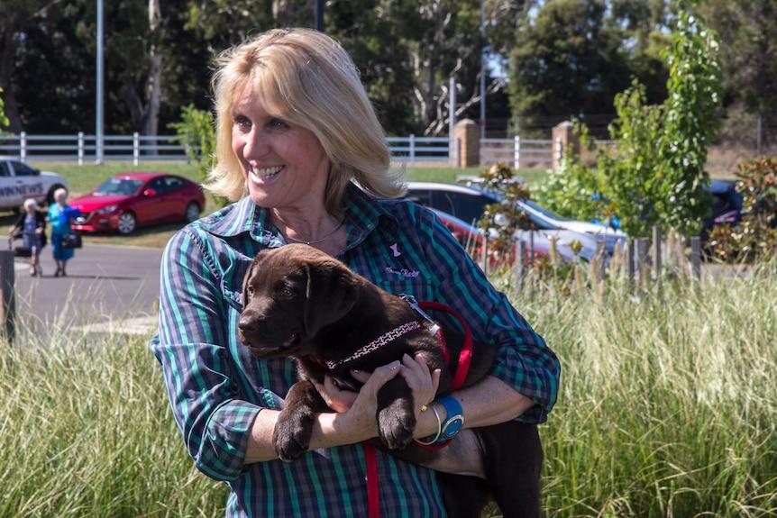 A woman holding a chocolate labrador puppy Arabella