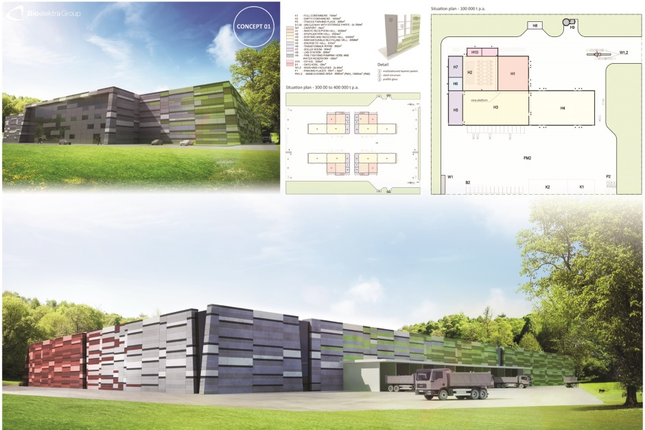 An artist's impression of a flat-roofed recycling facility in West Nowra