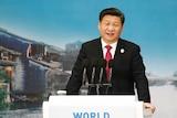 Chinese President Xi Jinping gives a speech.