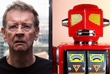 A composite picture of a man wearing glasses and a toy robot.