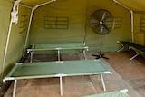 Interior of tent for asylum seekers on Manus Island