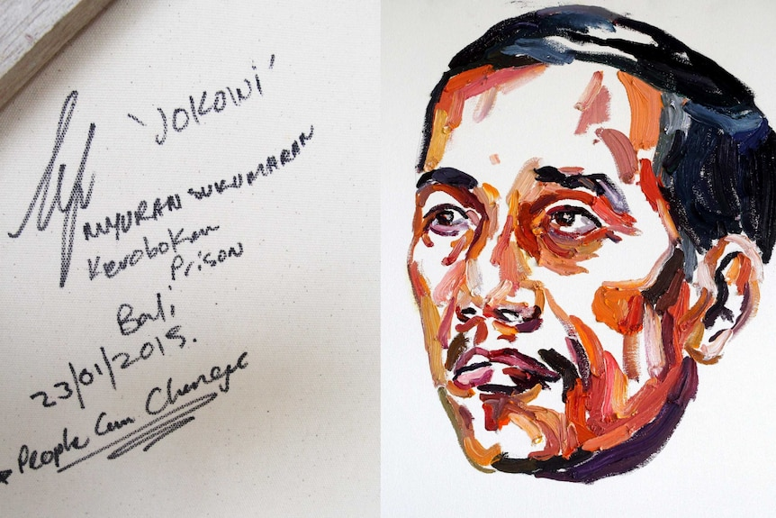 """A painting of Jokowi Widodo by Myuran Sukumaran with the words """"People can change"""" on the back"""