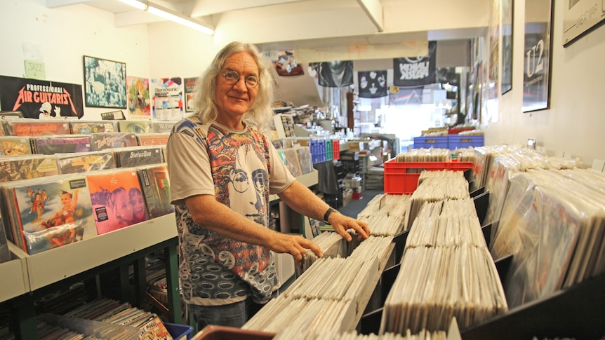 Rare Groove Records owner Ray Parsons in his Nobby Beach store