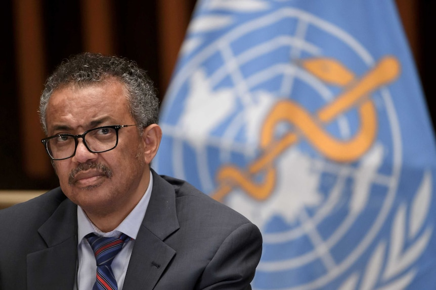 a man with glasses and a moustache in a suit sits in front of the world health organization logo