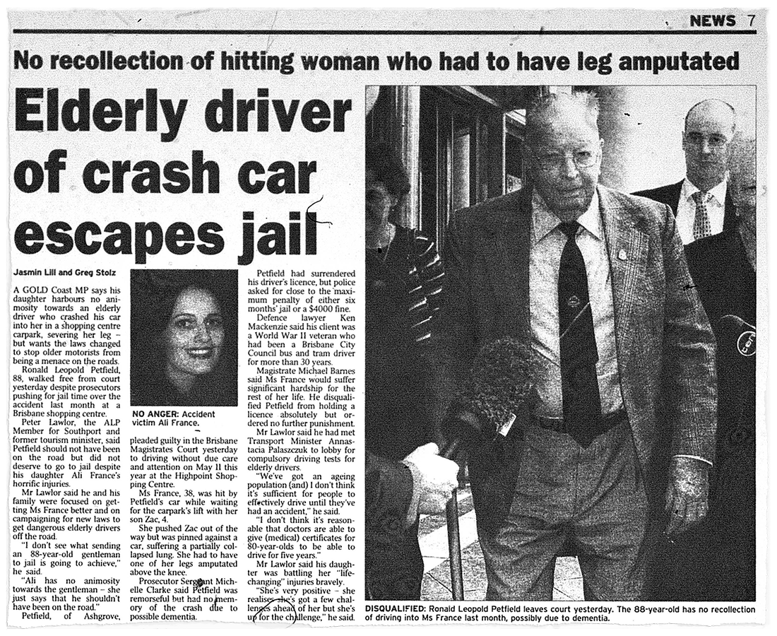 A newspaper clipping shows an article titled 'Elderly driver of cash car escapes jail', including a photo of Ali France