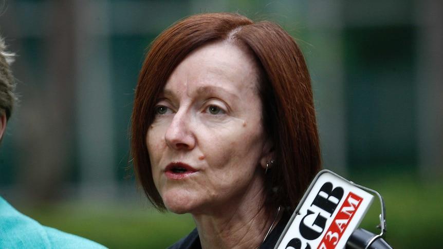 Greens Senator Rachel Siewert speaks at a press conference