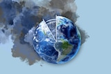 A graphic of planet Earth with smoke and part of a clockface.