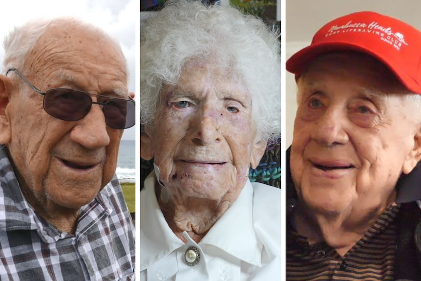 A split screen with side by side images of two elderly gentlemen and one elderly woman, all smiling.
