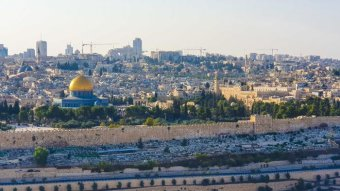 View of holy sites in Jerusalem.